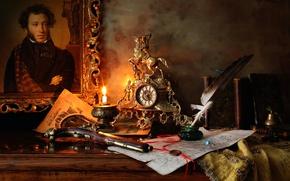 Wallpaper gun, pen, picture, the manuscript, ink, Pushkin