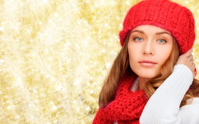 Picture white, look, pose, background, hat, portrait, makeup, scarf, hairstyle, red, beauty, red, sweater, bokeh