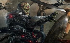 Picture sword, armor, fight, amazon, shield, Diana Prince, NetherRealm Studios, tentacles, Wonder woman, Injustice 2, Brainiac