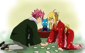 Picture romance, anime, art, pair, two, Fairy Tail, Natsu, Lucy, Fairy tail