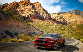 Wallpaper Ford, Mustang, rocks, the sky, Super Snake, road, mountains, Shelby