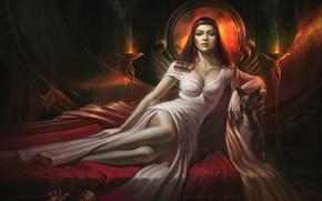 Wallpaper cat, girl, art, bed, Priestess, Max Yenin