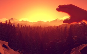 Picture Sunset, The evening, Mountains, The game, Trees, Forest, View, Hand, Brush, Hills, Landscape, Campo Santo, …