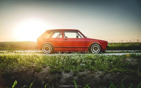 Picture Sunset, The sun, Red, Auto, Volkswagen, Machine, Golf, Volkswagen Golf, Old, Side view, Volkswagen Golf …