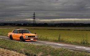 Picture Auto, Machine, Clouds, Orange, Nissan, Nissan, Lights, Car, 2000, Skyline, Nissan Skyline, 1972, 2000GT, Japanese, …
