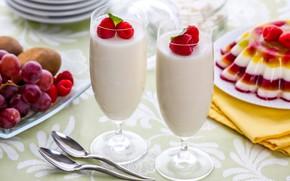 Wallpaper milk, berries, cocktail, raspberry, dessert