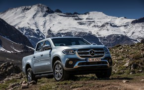 Picture snow, mountains, stones, grey, vegetation, tops, Mercedes-Benz, silver, pickup, 2017, X-Class