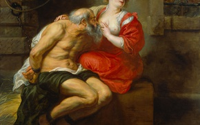 Picture erotic, oil, picture, canvas, Peter Paul Rubens, mythology, Cimon and Pero