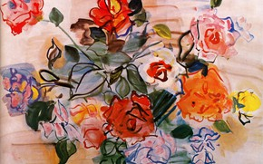 Picture New York, 1940, Raoul Dufy, Watercolor and gouache, Collection Albert D. Lasker, Pink bunch, Bouquet ...