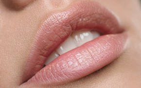 Picture girl, teeth, lipstick, lips