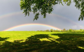 Picture field, nature, rainbow