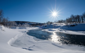 Picture winter, the sun, snow, river