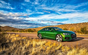 Picture road, the sky, grass, Audi, Audi, coupe, green, Coupe, RS 5