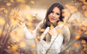 Picture autumn, look, girl, bokeh, Lena