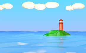 Picture sea, clouds, lighthouse, island, low poly