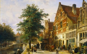 Picture tree, oil, picture, the urban landscape, Cornelis Springer, A street in Enkhuizen