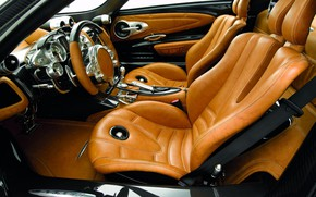 Picture the wheel, sports car, Pagani, salon, seat, To huayr