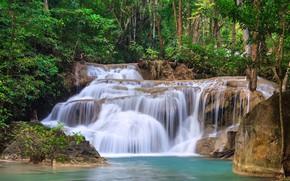Picture greens, forest, trees, stream, stones, waterfall, Thailand, Kanchanaburi, Erawan Waterfall