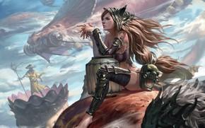 Picture dragon, artwork, tattoo, painting, digital art, fantasy art, girl, pearls, mask, Warrior, long hair, armor, ...