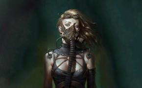 Picture future, girl, fantasy, green eyes, science fiction, sci-fi, digital art, artwork, fantasy art, Cyberpunk, gas …