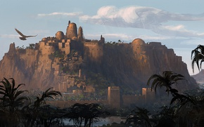 Picture the city, eagle, the building, the evening, fortress, Egypt, Assassin's Creed Origins