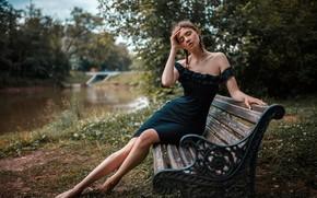 Wallpaper bokeh, lips, portrait, body, model, long hair, closed eyes, sitting, strapless, feet, barefoot, bare shoulders, ...