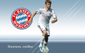 Picture FC Bayern Munchen, football, sport, player, wallpaper, Thomas Muller, logo