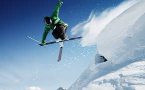 Picture winter, forest, the sky, the sun, snow, mountains, the descent, ski, stick, helmet, skier, skiing