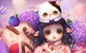 Picture flowers, anime, art, girl, kitty, snacks, milkyu dong, Lolita cake and cat