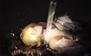 Picture sword, art, guy, blonde