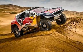 Wallpaper Red Bull, Sport, Speed, Sport, Peugeot 2008 DKR, DKR, 2008, Rally, Race, Heat, Dakar, Dakar, ...