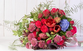 Picture roses, bouquet, hyacinth, Calla lilies, Amaryllis, astrantia