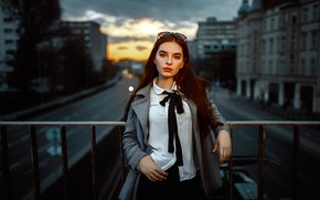 Picture road, bridge, the city, pose, model, portrait, home, the evening, makeup, glasses, hairstyle, tie, railings, …