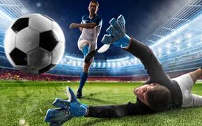 Wallpaper lawn, floodlight, t-shirt, grass, goal, striker, sneakers, knee, uniform, the situation, blow, football, the ball, ...