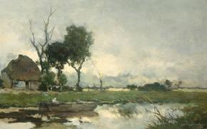 Picture oil, picture, canvas, Autumn Landscape, Johan Hendrik Weissenbruch