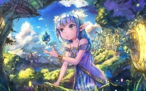 Picture the sky, the city, castle, magic, elf, surprise, tale, girl, ears, blue hair, art, Nattorin