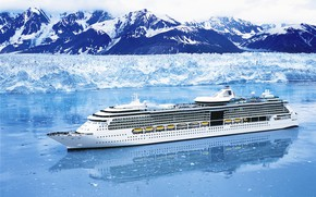 Picture Sea, Mountains, White, Liner, Ice, The ship, Passenger, Cold, Royal Caribbean International, Handsome, On the ...