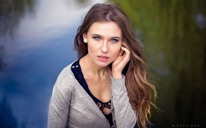 Picture look, water, girl, background, model, portrait, makeup, hairstyle, brown hair, beautiful, jacket, Cyril Max, Misha
