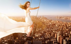 Picture the bride, redhead, the city, hairstyle, photoshop, girl, mood, in white, the sun, dress, chain, …