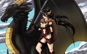 Picture demon, sword, armor, devil, weapon, woman, wings, ken, blade, dragon, brunette, fang, warrior, oppai, bishojo, …