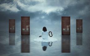 Picture girl, door, key, art, choice