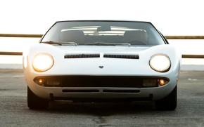 Picture Auto, Lamborghini, White, Retro, Machine, Light, Eyelashes, 1969, Lights, Car, Supercar, Miura, Supercar, The front, …