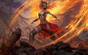 Wallpaper girl, magic, art, Dragons Of Eternity, Andrew Kosinski, Dragon Eternity, fire