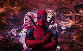 Wallpaper cinema, girl, sword, katana, man, Deadpool, movie, ken, blade, film, mask, strong, Harley Quinn, ninjaken, ...
