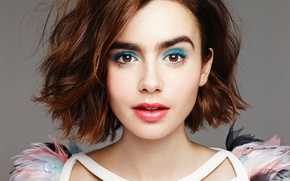 Picture style, background, model, portrait, feathers, makeup, actress, hairstyle, outfit, brown hair, beauty, Lily Collins, Lily …