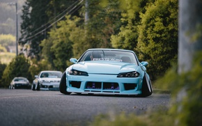 Wallpaper Stance, Blue, Nissan, Silvia, S15, Nation, Low