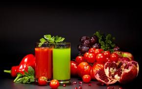 Picture juice, pepper, vegetables, tomato, garnet