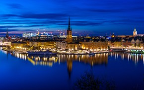 Picture water, reflection, ship, building, home, yacht, pier, panorama, Bay, Stockholm, Sweden, night city, promenade, Sweden, …