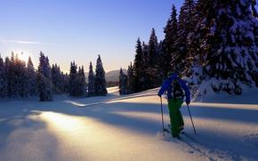 Wallpaper winter, skier, morning