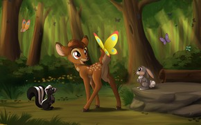 Picture butterfly, nature, fawn, Bunny, Bambi, skunk, by Sirzi